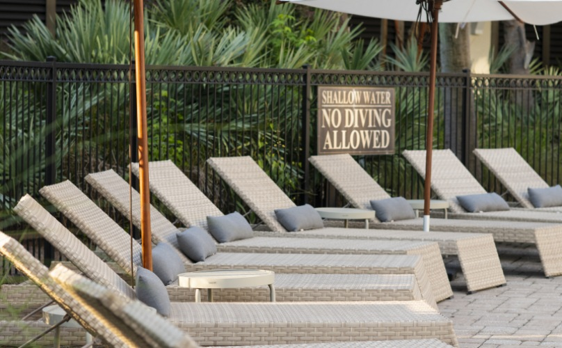 Poolside Lounge Chairs At Daniel Island Village Apartments