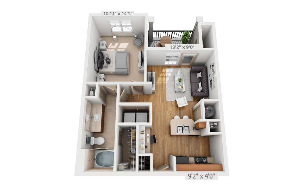 Baldrick  - 1 bedroom floorplan layout with 1 bath and 650 square feet.
