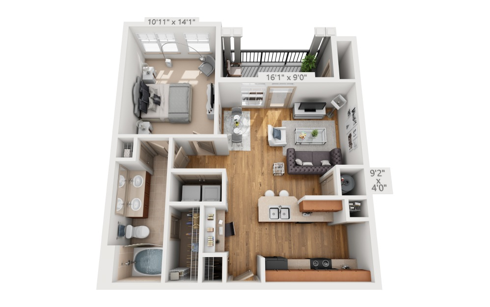 Bluff  - 1 bedroom floorplan layout with 1 bath and 716 square feet.