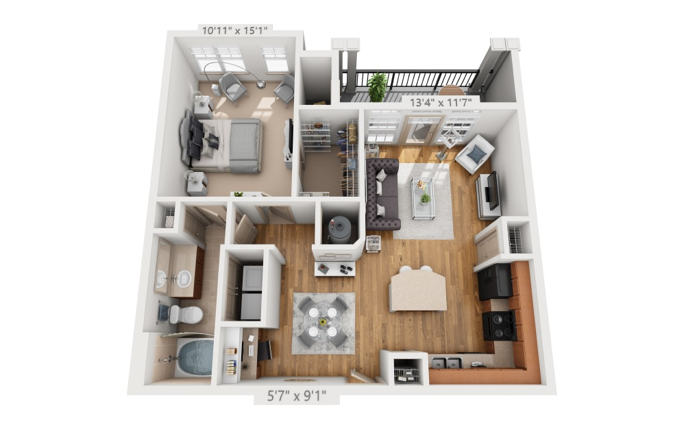 Branford  - 1 bedroom floorplan layout with 1 bath and 769 square feet.