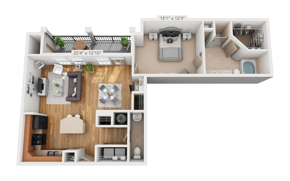 Chelsea  - 1 bedroom floorplan layout with 1.5 bath and 978 square feet.