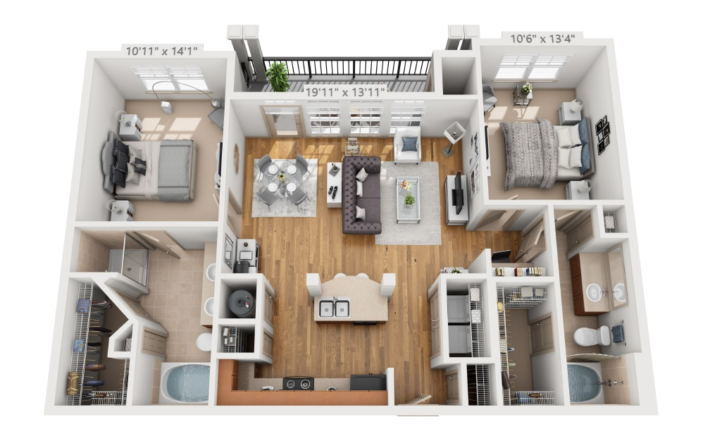 Claybank - 2 bedroom floorplan layout with 2 baths and 1123 square feet.