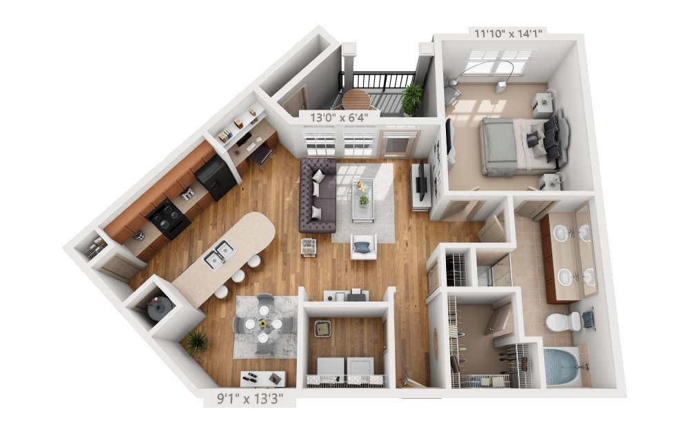 Clayfield  - 1 bedroom floorplan layout with 1 bath and 936 square feet.