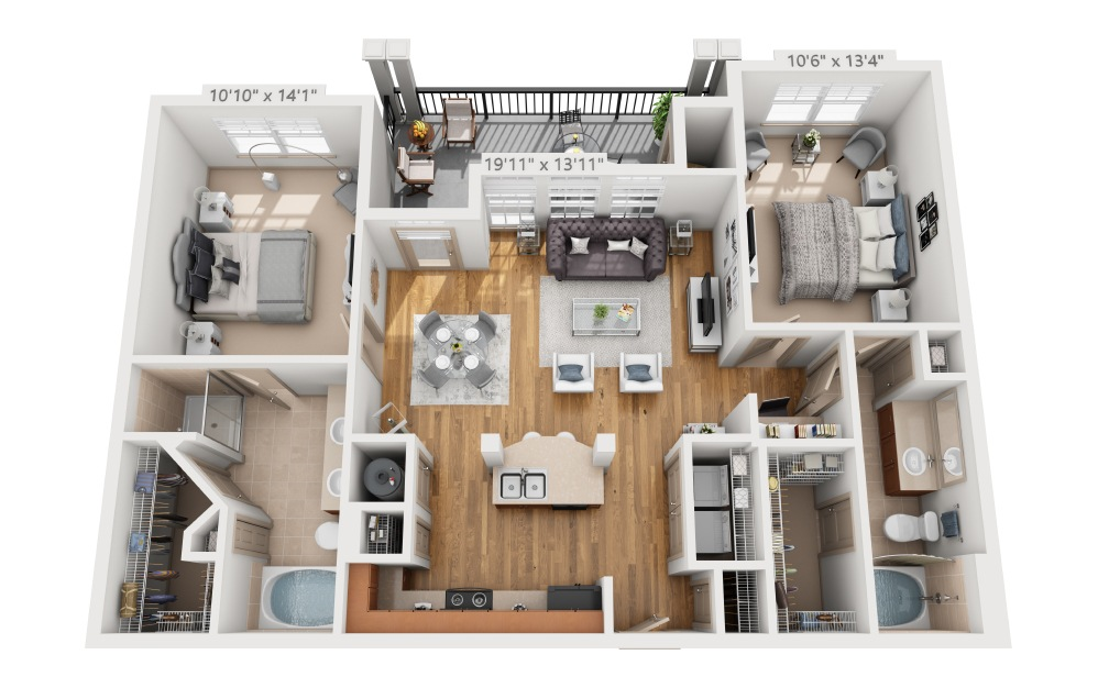 Clebb - 2 bedroom floorplan layout with 2 baths and 1117 square feet.