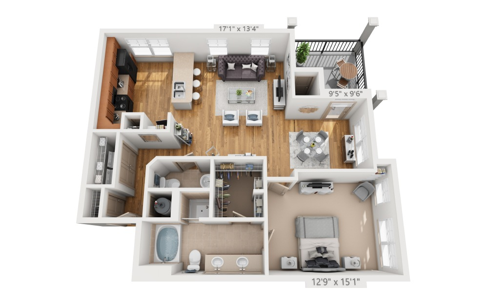 Clifton  - 1 bedroom floorplan layout with 1.5 bath and 993 square feet.