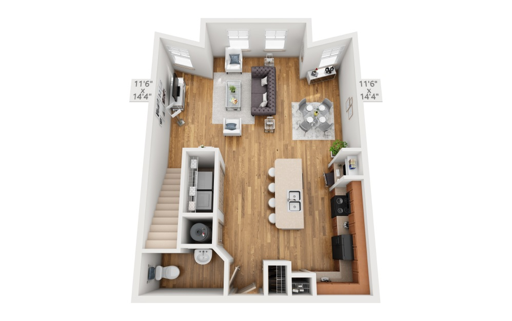 Edinburgh - 2 bedroom floorplan layout with 2.5 baths and 1454 square feet. (Floor 1)