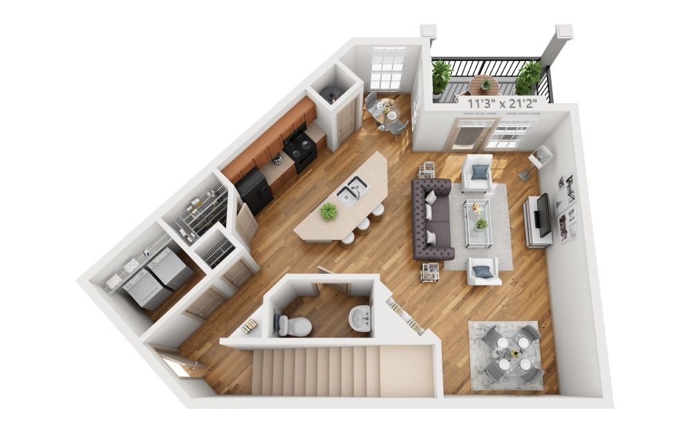 Fettersea - 2 bedroom floorplan layout with 2.5 baths and 1494 square feet. (Floor 1)