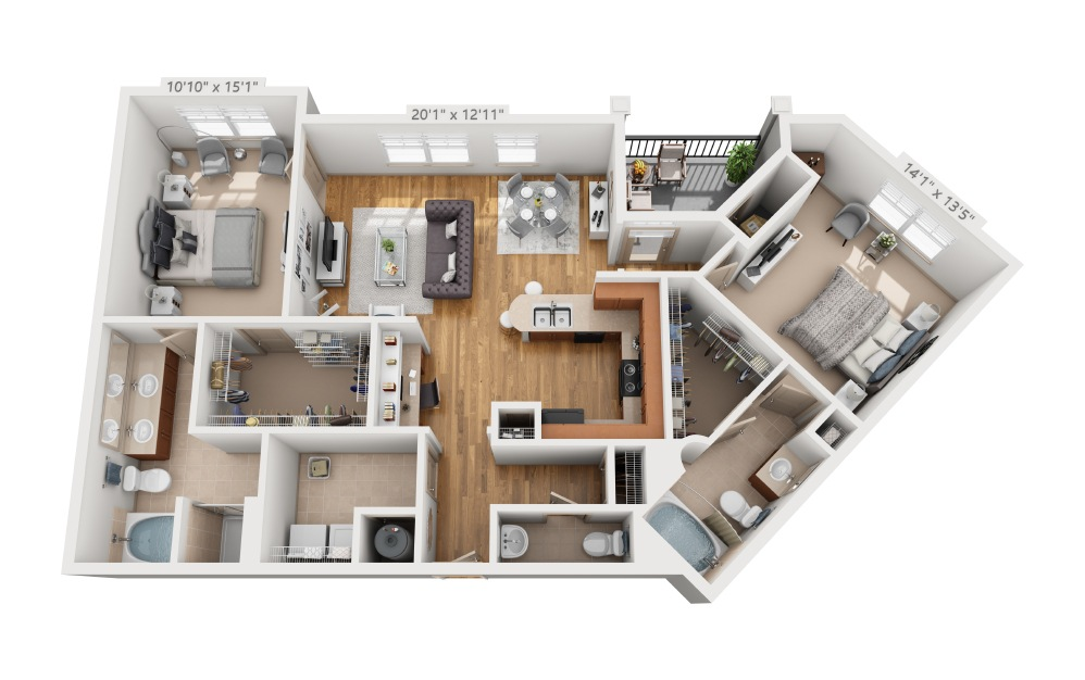 Hagan - 2 bedroom floorplan layout with 2.5 baths and 1326 square feet.