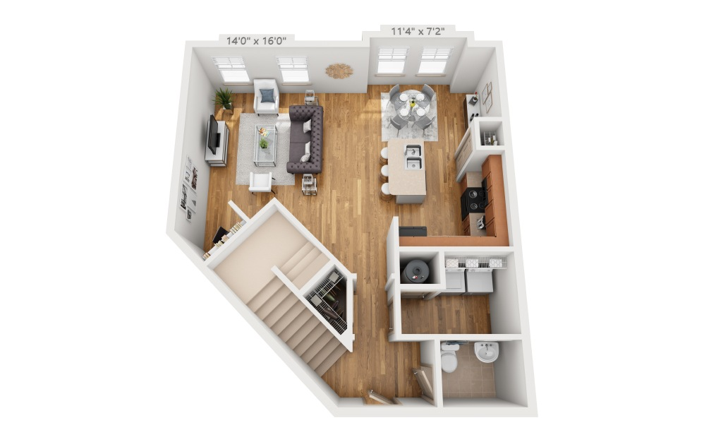 Halis - 2 bedroom floorplan layout with 2.5 baths and 1598 square feet. (Floor 1)