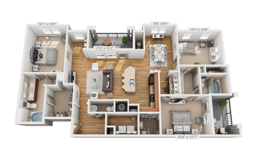 Harbin - 3 bedroom floorplan layout with 2.5 baths and 1704 square feet.