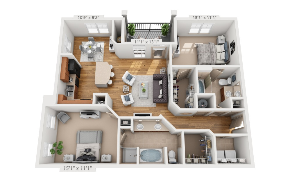 Pierpont - 2 bedroom floorplan layout with 2 baths and 1177 square feet.