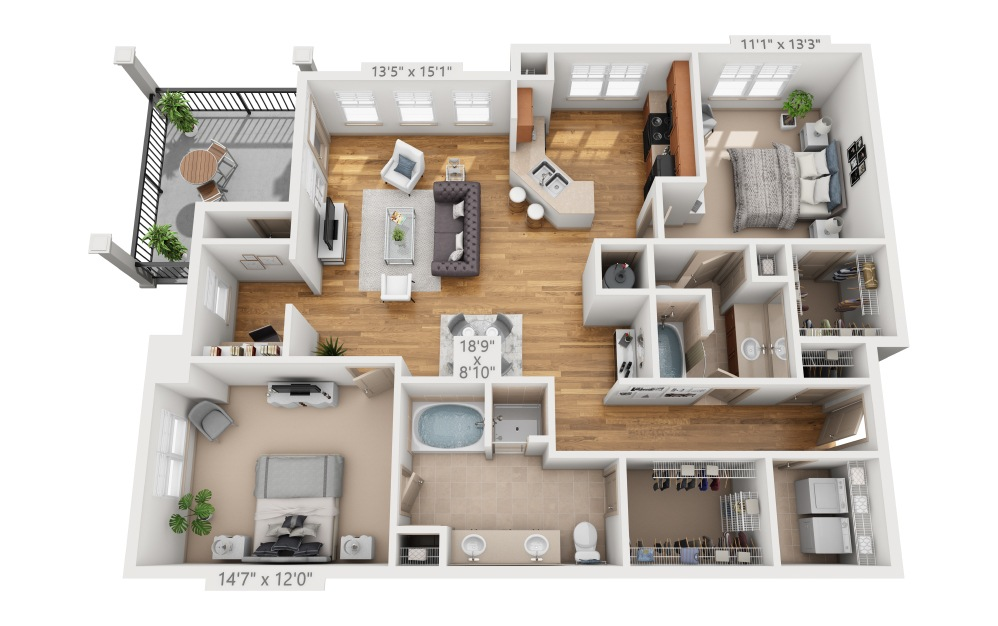 Rosemont - 2 bedroom floorplan layout with 2 baths and 1349 square feet.
