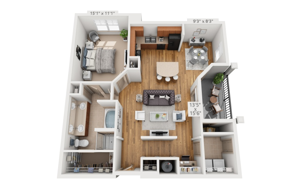 Santee  - 1 bedroom floorplan layout with 1 bath and 925 square feet.