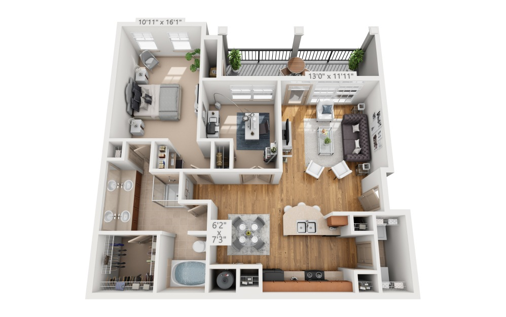 Seabrook  - 1 bedroom floorplan layout with 1 bath and 1027 square feet.