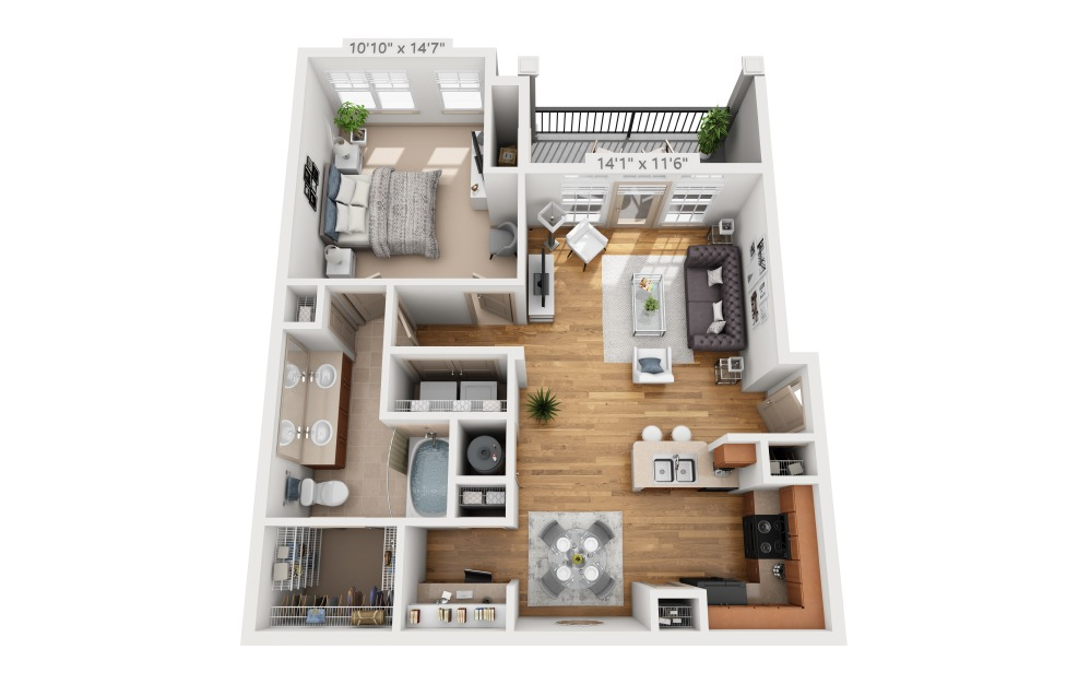 Seaton  - 1 bedroom floorplan layout with 1 bath and 827 square feet.