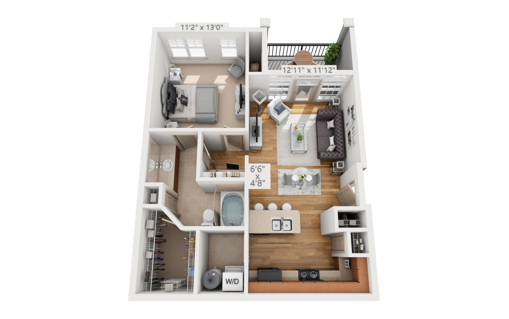 Sedgewood  - 1 bedroom floorplan layout with 1 bath and 706 square feet.